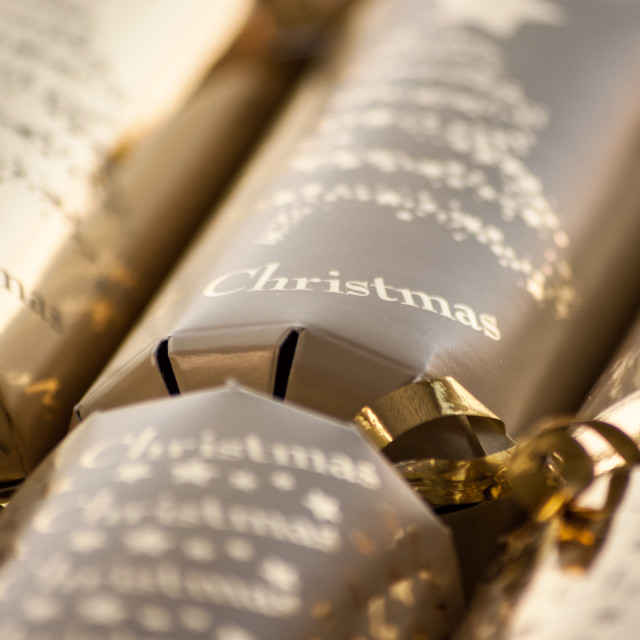 """Golden Christmas Crackers"" stock image"