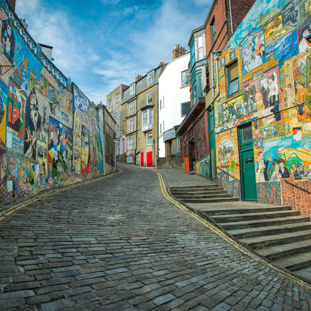 """Scarborough back streets"" stock image"
