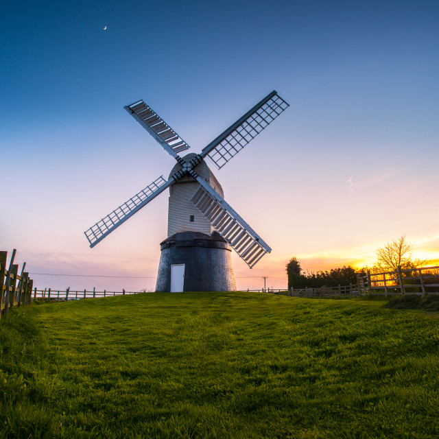 """Wrawby Windmill sunset"" stock image"