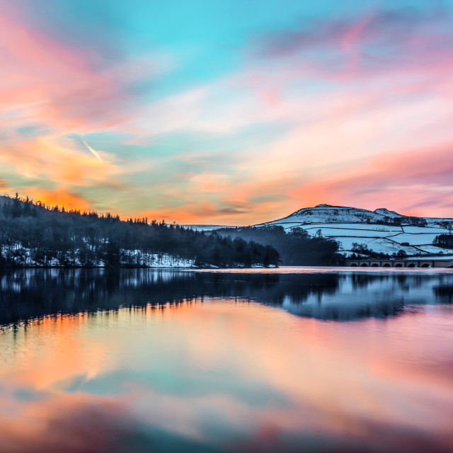 """ladybower reservoir sunset"" stock image"