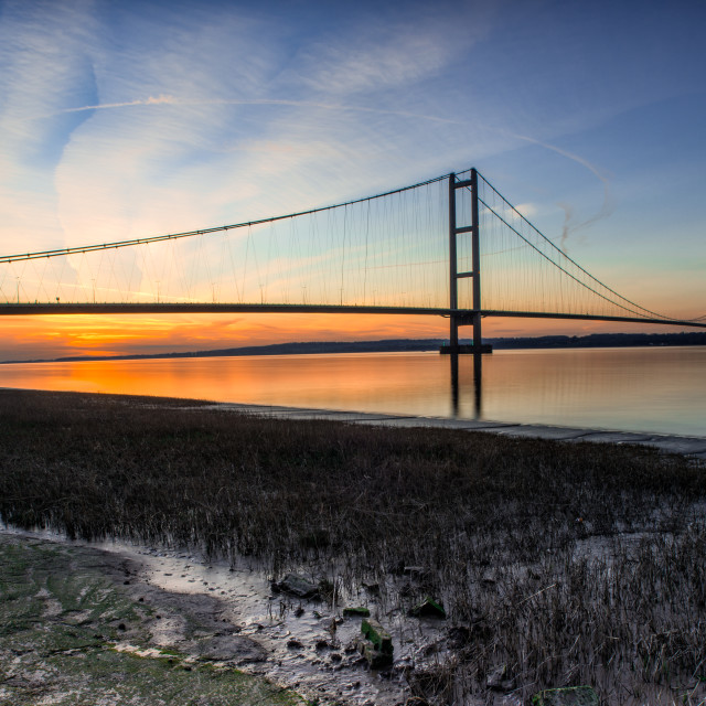 """humber bridge sunset"" stock image"