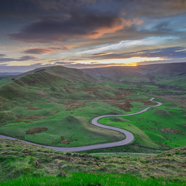 """sunset over edale"" stock image"