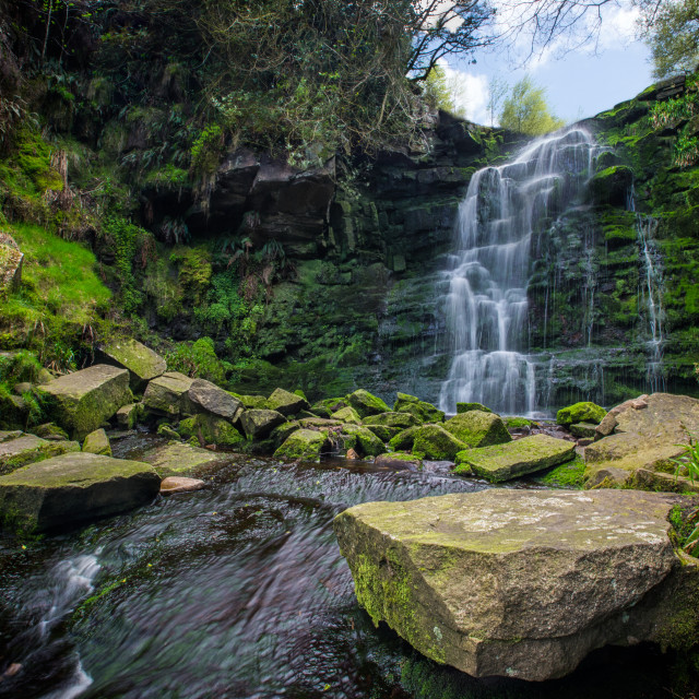 """middle black clough waterfall"" stock image"