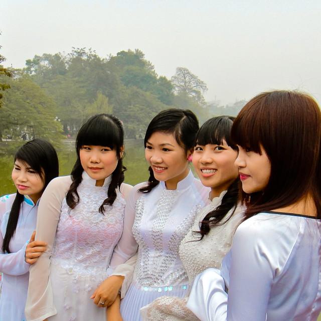 """Vietnam girls in silk dresses posing in the mist"" stock image"