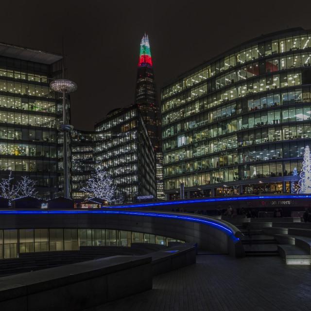 """City Hall & The Shard at night."" stock image"
