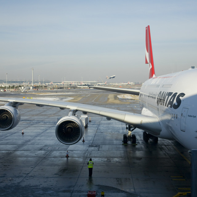 """Airbus A380 at the gate"" stock image"