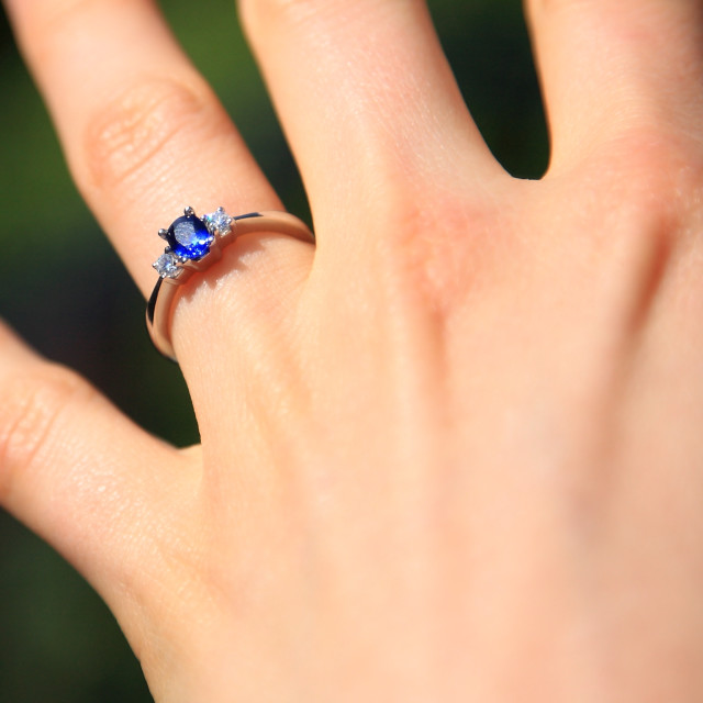 """Sapphire Engagement Ring"" stock image"