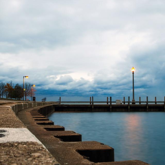 """Sunrise over Lake Michigan"" stock image"