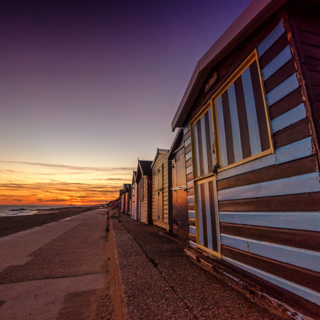 """Golden Hour Clacton Beach Huts"" stock image"