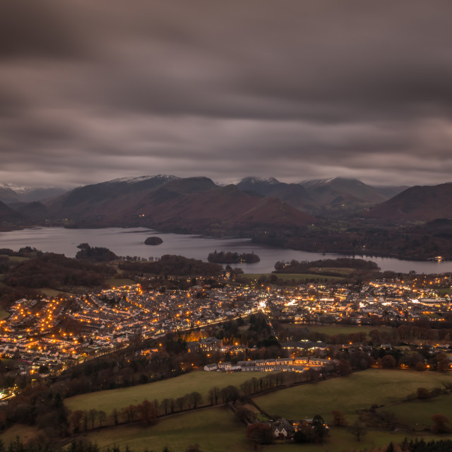 """Keswick at Night"" stock image"