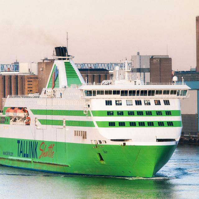 """Ferry in passenger port Lansiterminaali in Helsinki"" stock image"