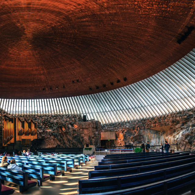 """Interior of the Rock Church in Helsinki , Finland."" stock image"