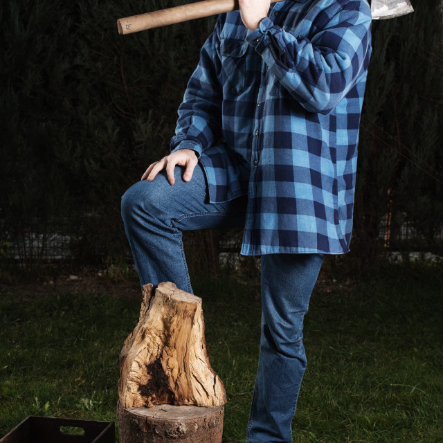 """lumberjack with an ax on shoulder"" stock image"