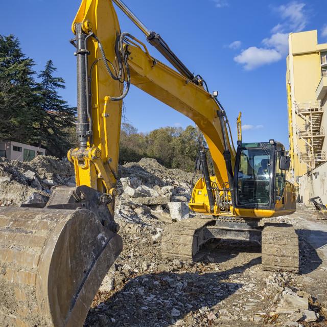"""Yellow excavator"" stock image"