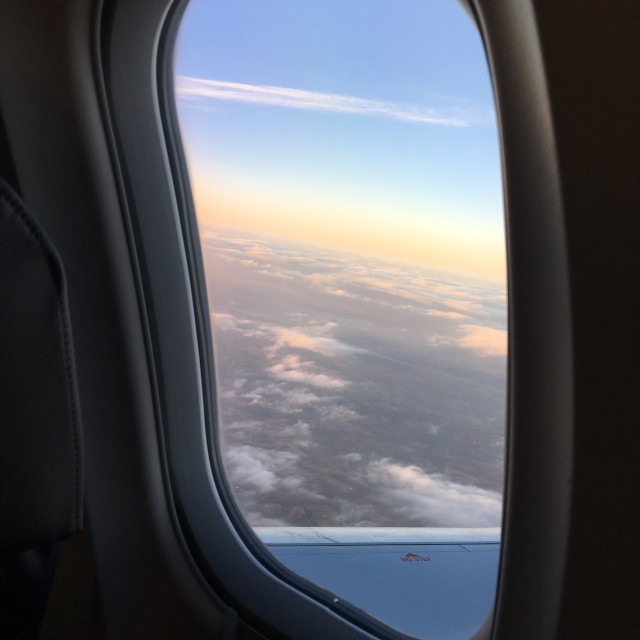 """View out of plane window, travel"" stock image"
