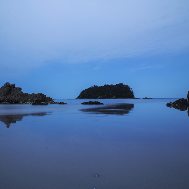 """The blue tone at Mount Maunganui main beach, New Zealand"" stock image"