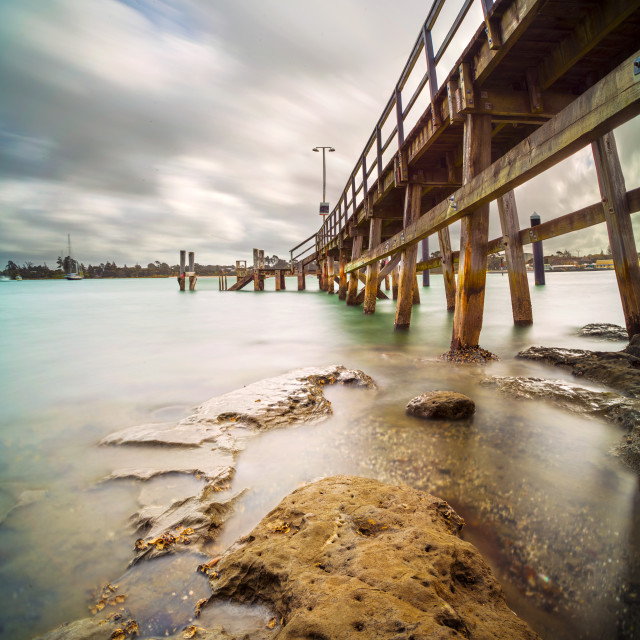 """Beach Haven Wharf and a mood"" stock image"