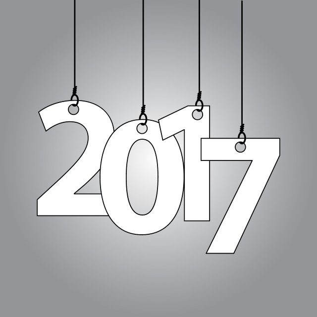"""""""New Year card with hanging numbers"""" stock image"""
