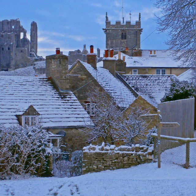 """Winter at Corfe Castle"" stock image"