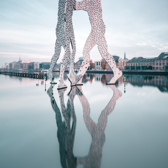 """Molecule Man in Berlin dancing on the spree river"" stock image"
