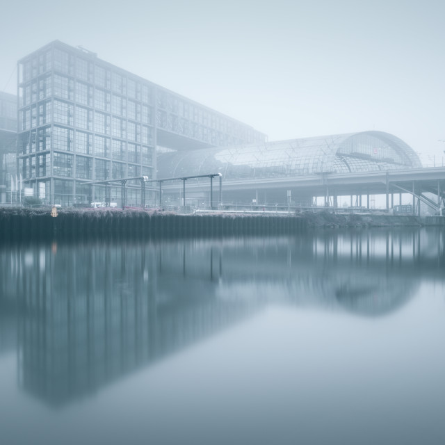 """Berlin Central-Station clouded in fog"" stock image"