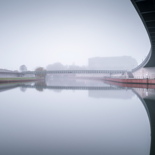"""Bridges in Berlin on a foggy morning"" stock image"