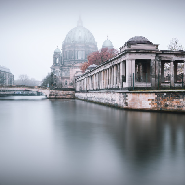 """Berlin Cathedral clouded in fog"" stock image"