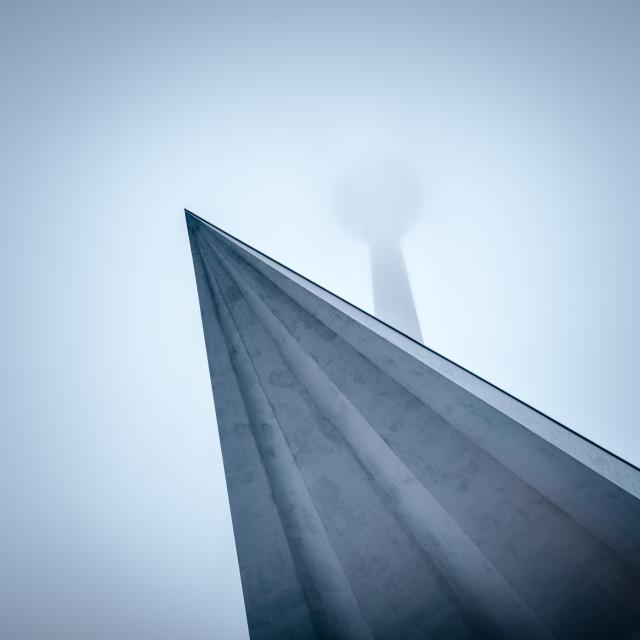 """Berlin TV-tower clouded in fog"" stock image"
