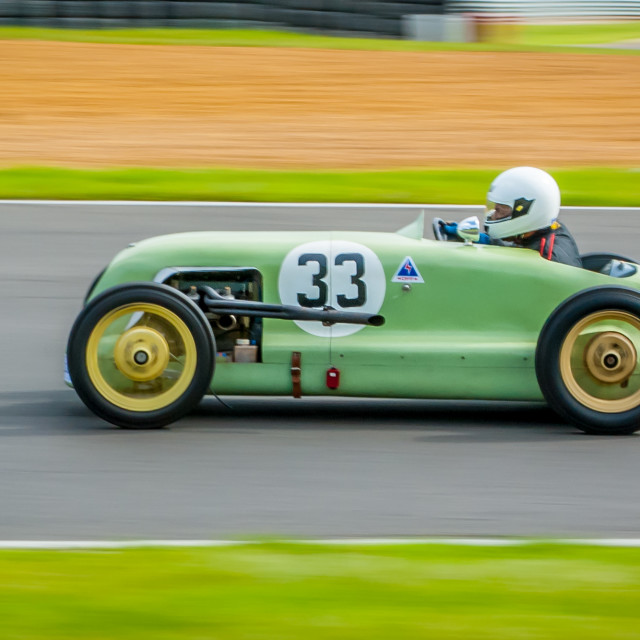 """Another image of a vintage Austin Special Racing Car at speed"" stock image"