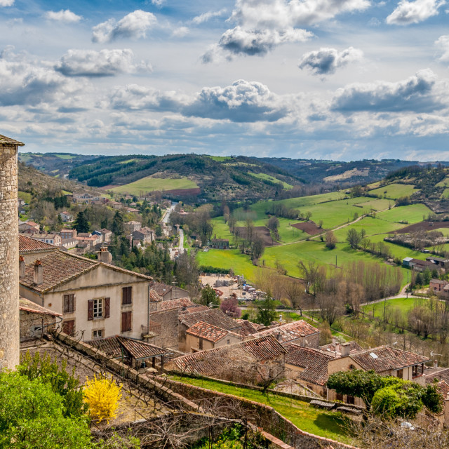 """View from a hilltop village in France"" stock image"