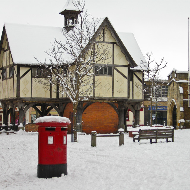 """Snow in an English Market Town"" stock image"