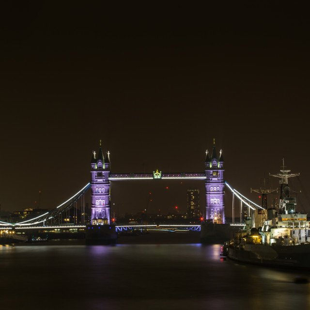 """Tower Bridge & HMS Belfast"" stock image"