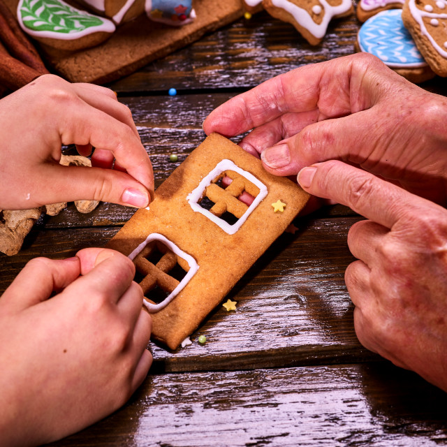 """""""The family made a gingerbread house for Christmas."""" stock image"""