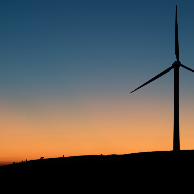 """Turbine and Sheep in Twilight"" stock image"