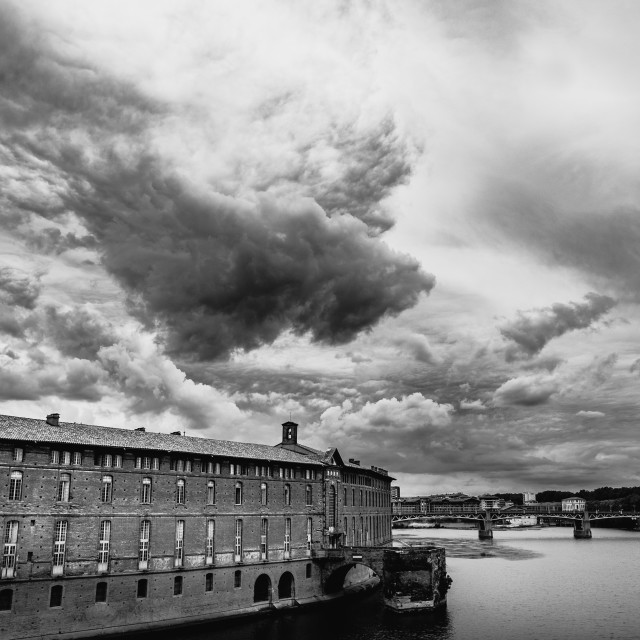 """Garonne river landscape in Toulouse"" stock image"