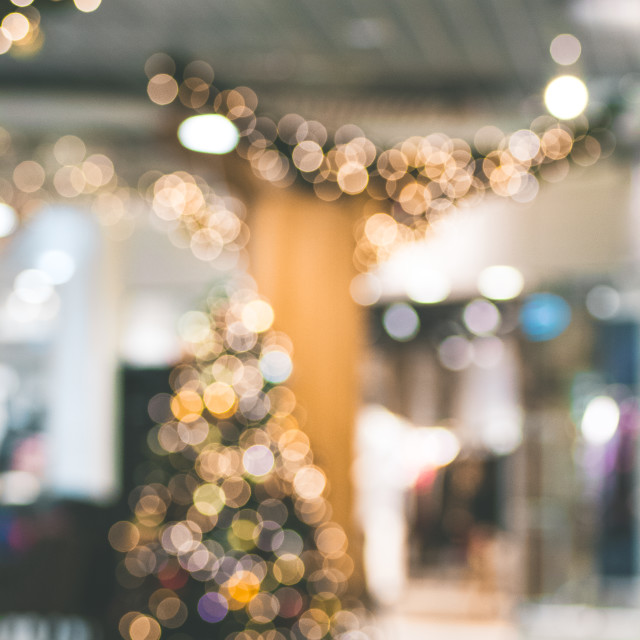 """""""Christmas three with soft bokeh lights in the shopping center."""" stock image"""