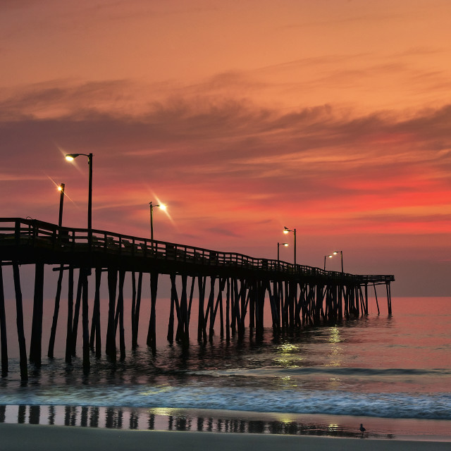 """Fishing Pier sunrise, Nags Head, Outer Banks, North Carolina"" stock image"