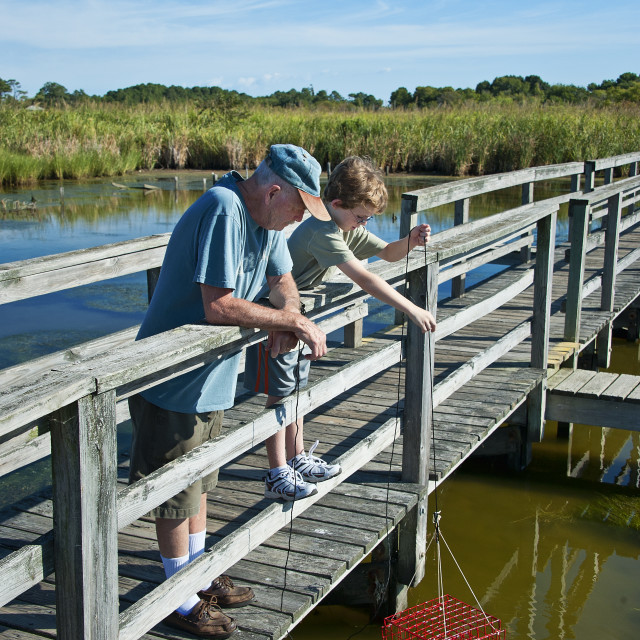"""""""Grandfather and boy crabbing from a dock, Outer Banks, North Carolina"""" stock image"""