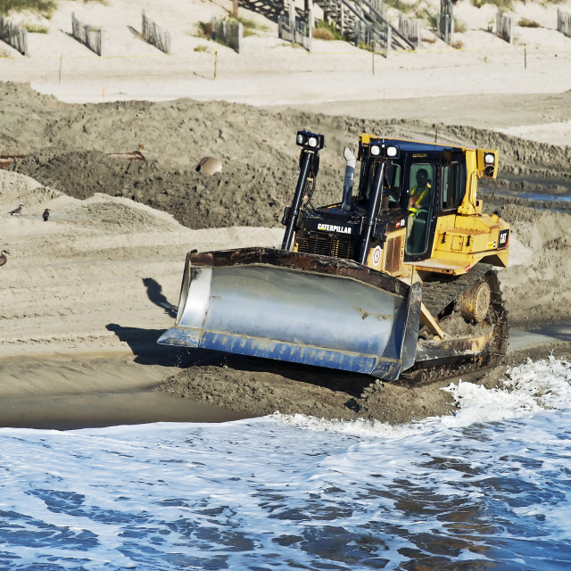 """Rebuilding eroded beaches, Nags Head, Outer Banks, North Carolina, USA"" stock image"