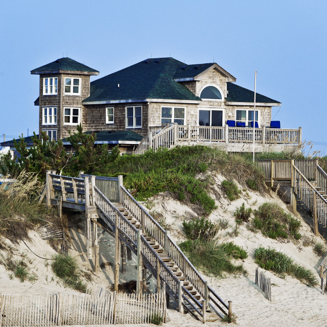"""Waterfront Beach house, Nags Head, OBX, Outer Banks, North Carolina, USA"" stock image"