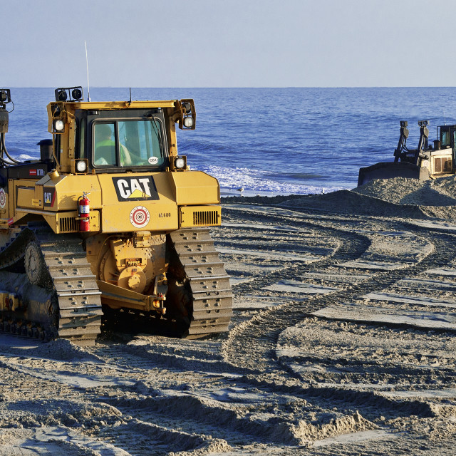 """Rebuilding eroded beaches, Nags Head, Outer Banks, North Carolina, USA"" stock image"