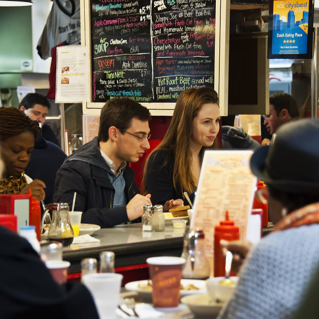 """Diner at Reading Terminal Market, Philadelphia, Pennsylvania, USA"" stock image"