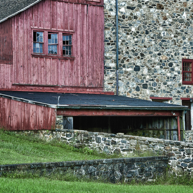 """Rural field stone barn, Stroud Preserve, West Chester, Chester County, Pennsylvania"" stock image"
