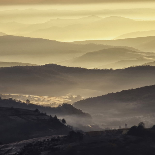 """""""Fog trough hills in the morning"""" stock image"""