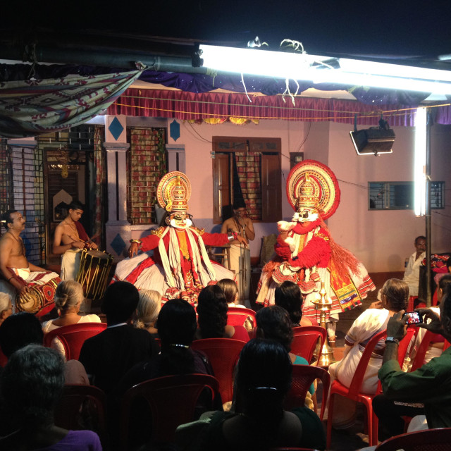 """""""Kathakali a traditional Kerala art form performed in a house"""" stock image"""