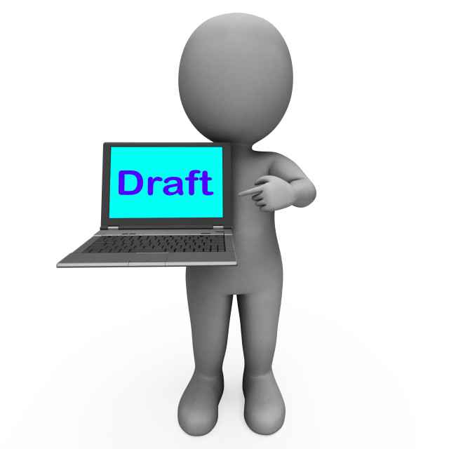 """""""Draft Character Laptop Shows Outline Correspondence Or Letter Online"""" stock image"""