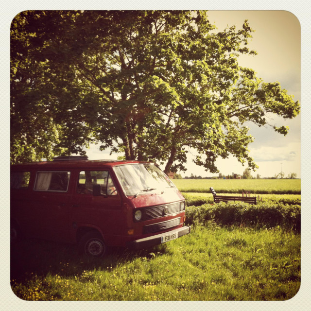 """Red campervan"" stock image"