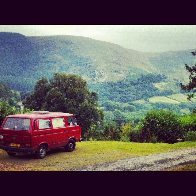 """Campervan in the valley"" stock image"