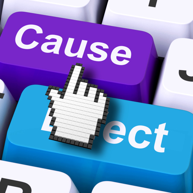 """""""Cause Effect Computer Means Consequence Action Or Reaction"""" stock image"""