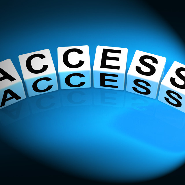 """Access Dice Show Admittance Accessibility and Entry"" stock image"